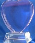 2D Pink heart on attached crystal base