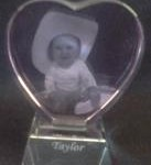 2D Pink heart on attached crystal base w pic