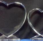 2D Scalloped Edge Hearts w crystal base